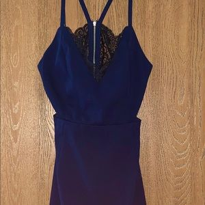 Lulus Heartbeat Song Black Lace & Navy Blue dress